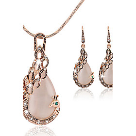 Women's Cubic Zirconia Jewelry Set - Rose Gold, Cubic Zirconia Peacock Asian, Party, Work Include Stud Earrings Pendant Necklace Rose Gold For Party Special Oc