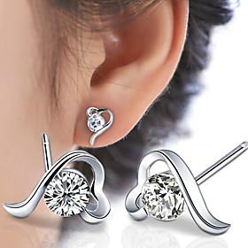 Women's Stud Earrings - Sterling Silver, Crystal, Silver Love, Fashion Silve..