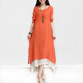 Women's Vintage / Casual / Day Solid / Patchwork / Split Loose Thin Dress , Asymmetrical False Two Cotton / Linen