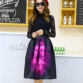 Image of Women's Floral Green / Purple Skirts , Vintage / Casual / Day Knee-length