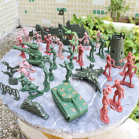 Image of 92pcs Soldier Action Figures Set Modeling Tanks, Artillery, Aircraft, Towers, Trees, Sandbags, Bunkers, Fences