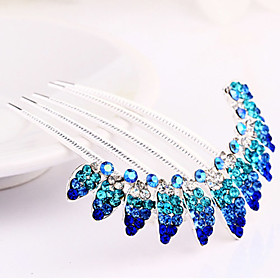 Blue Hair Combs Rhinestone Wedding/Party Headpiece Hair Comb for Wedding Party Hair Jewelry 4892838
