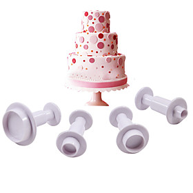 Round Plastic Fondant Plunger Cutters Fondant Cake Decorating Tools Cake Mold,Set of 4