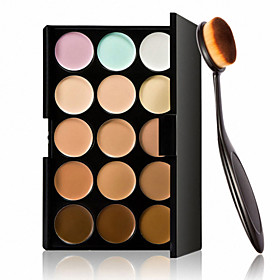 15 Colors Contour Face Cream Makeup Concealer Palette  Oval Makeup Brush Foundation Cream Tool