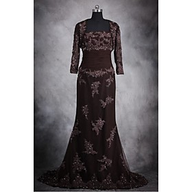 Trumpet / Mermaid Mother of the Bride Dress Floor-length Lace / Tulle / Stretch Satin with Appliques / Beading / Sequins