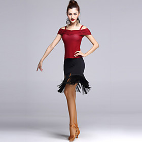 Latin Dance Outfits Women's Performance Tulle Tassel(s) 2 Pieces Skirt / Top 4945477