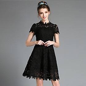 Image of Vintage Plus Size Women Elegant Sexy Vintage Lace Hollow Embroidery Short Sleeve Knee Length Dress
