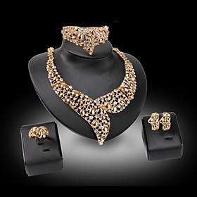 Schmuck Halsketten \/ Ohrringe \/ Ringe \/ Armband 4 Stucke vergoldet Imitation Diamant \/ Perle Hochzeit \/ PartyAleacion \/ Strass \/