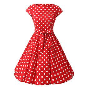 Women's Cap Sleeves Red Black Purple Polka Dot Dress , Vintage Cap Sleeves 50s Rockabilly Swing Dress