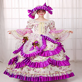 Image of One-Piece/Dress Classic/Traditional Lolita Steampunk Victorian Cosplay Lolita Dress Solid Long Sleeve Long Length Dress Hat ForSilk