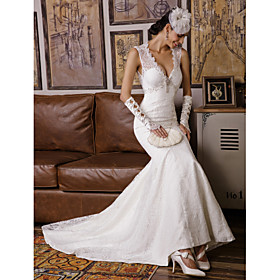 Mermaid / Trumpet V-neck Sweep / Brush Train Lace Wedding Dress with Beading by Embroidered bridal