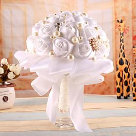Crystal Pearls Silk Flowers Handmade Rose Wedding Flower Bridal Bouquet Brooch
