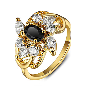 2016 Luxurious Flower Party 18K Gold Plated Black Rhinestone Engagement Ring..