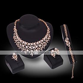 Schmuck Halsketten \/ Ohrringe \/ Ringe \/ Armband 4 Stucke vergoldet Imitation Diamant \/ Perle Geburtssteine Hochzeit \/ PartyAleacion \/