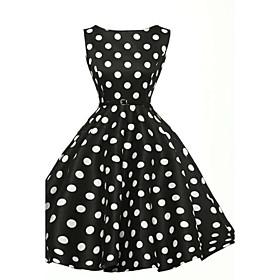 Women's Vintage / Street chic Polka Dot Sheath / Skater Dress,Round Neck Knee-length Cotton / Polyester