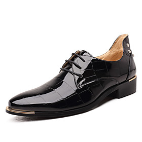 Men's Formal Shoes Microfiber Spring / Fall Business Oxfords Black / Red / Royal Blue / Wedding / Party  Evening / Lace-up / Party  Evening / Comfort Shoes