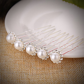 20 PCS Bride's Flower Shape Rhinestone Pearl Wedding Hair Clip Accessories Jewelry