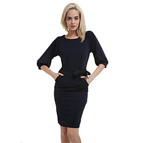 Image of Women's Sexy Cute Party Work Plus Sizes Micro Elastic ½ Length Sleeve Knee-length Dress (Cotton)