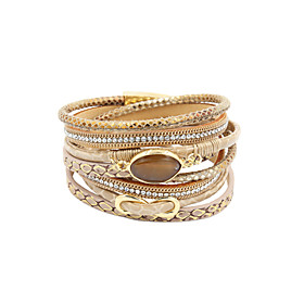 Women's Crystal Layered Beads Wrap Bracelet Leather