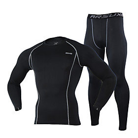 Arsuxeo Cycling Jersey with Tights Men's Long Sleeves Bike Baselayer Sleeves Jersey Tights Thermal / Warm Quick Dry Breathable Soft 4919138