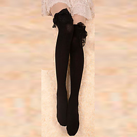 Socks/Stockings Gothic Lolita Black Lace Trim Cotton Lolita Accessories Stockings/Over Knee Socks Lace For Women Cotton