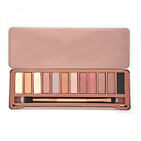 12 Colors Naked Earth Color Eyeshadow Eye Shadow Matte Cosmetic Makeup Palette  Brush Mirror Set