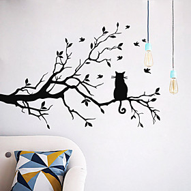 Wall Stickers Wall Decals Style Cat on A Branch PVC Wall Stickers 4921855