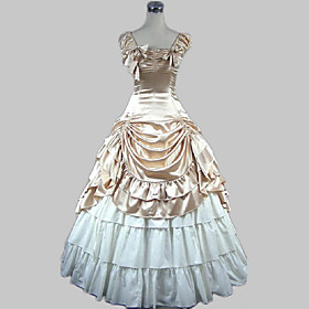 Sweet Lolita Dress Classic Lolita Dress Victorian Medieval Satin Women's Girls' Dress Ball Gown Cosplay Champagne / Golden Sleeveless Floor Length Costumes