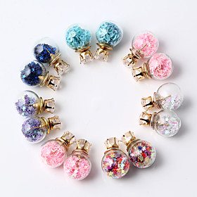 HUALUOTransparent glass ball glass balls zircon earrings sided pentagram ear..