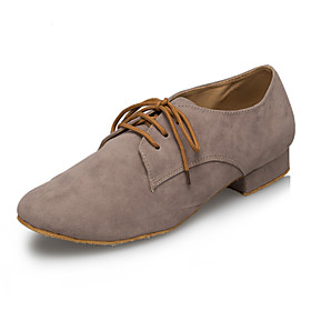 Customizable Men's Dance Shoes Latin / Ballroom/ Jazz / Swing Shoes / Salsa / Samba Flocking Low Heel Gray