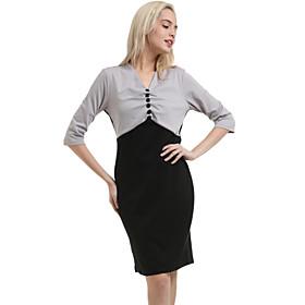Image of Women's Vintage V Neck Dress , Polyester Knee-length ½ Length Sleeve