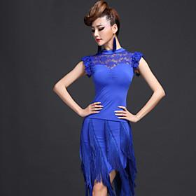Latin Dance Outfits Women's Performance Chinlon Viscose Tassel(s) 2 Pieces Skirt Top 95 4945488