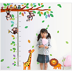LC6028 Giraffe and Monkeys Playing on Trees Height Measure Wall Stickers for Kids Rooms Kids Growth Chart Wall Decal