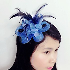 Tulle / Feather / Net Fascinators / Headwear with Floral 1pc Wedding / Special Occasion Headpiece 4903815