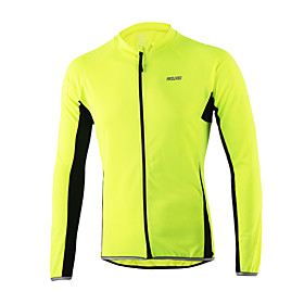 Arsuxeo Men's Long Sleeves Cycling Jersey - Orange Light Yellow Dark Grey Light Blue Bike Jersey, Quick Dry, Anatomic Design, Breathable 4921437