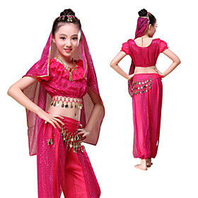 Belly Dance Outfits Children's Performance Chiffon Gold Coins / Ruffles 5 Pi..