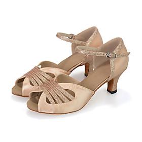 Customizable Women's Dance Shoes Latin Leatherette Flared Heel