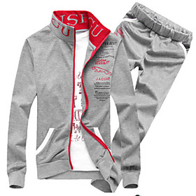Men's Casual/Daily Sports Activewear Set Letter Cotton Long Sleeve 4897231