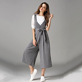 Image of Women's Striped Vintage Casual Loose Large Size Cropped Trousers Jumpsuits,Simple V Neck Sleeveless