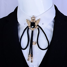 Gold Plated 2 Eagle Artificial Gemstone Necktie Western Cowboy Rodeo Bolo Bola Tie
