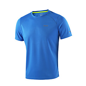 Arsuxeo Men's Crew Neck Running Shirt - Light Yellow, Sky Blue, Dark Gray Sports Tee / T-shirt / Top Fitness, Gym, Workout Short Sleeve Activewear Breathable,