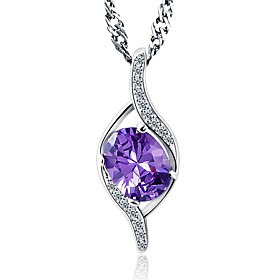 Classic Austrian Rhinestone Pure Amethyst Water Drop Pendant Necklaces Purpl..