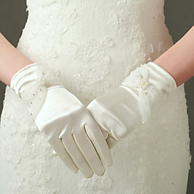 Elbow Length Fingertips Glove Nylon Elastic Satin Bridal Gloves Party/ Evening Gloves Spring Summer Fall Winter Beading