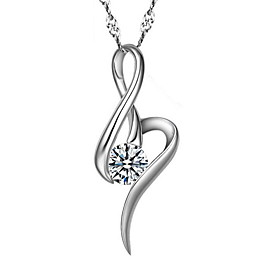 Time Limited White Crystal Real Silver Pendant Necklaces With Round Rhinesto..