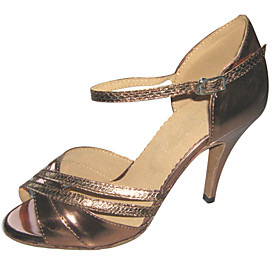 Customizable Women's Dance Shoes Latin/Salsa Leatherette Customized Heel Brown