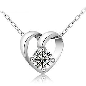 Real 925 Sterling Silver Jewelry Crystal Heart-Shaped Pendant Short Clavicle..