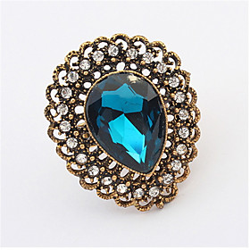 Vintage Jewelry Punk Female Gold-plated Crystal Rhinestone Adjustable Ring plus size,  plus size fashion plus size appare