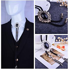 Baroque pattern Bolo Tie Western Cowboy Artificial Black Onyx Men Necktie