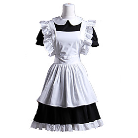 Image of One-Piece/Dress / Maid Suits Sweet Lolita Lolita Cosplay Lolita Dress White / Black Patchwork Short Sleeve Short Length Dress / Apron For