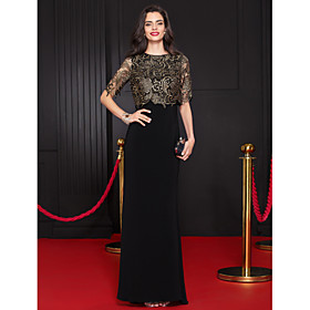 TS Couture Formal Evening Dress Trumpet / Mermaid Scoop Floor-length Lace / Jersey with Lace